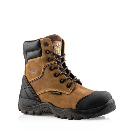 BSH008 S3 HRO SRC WRU Dark Brown High Leg Style Safety Lace Zip Boot